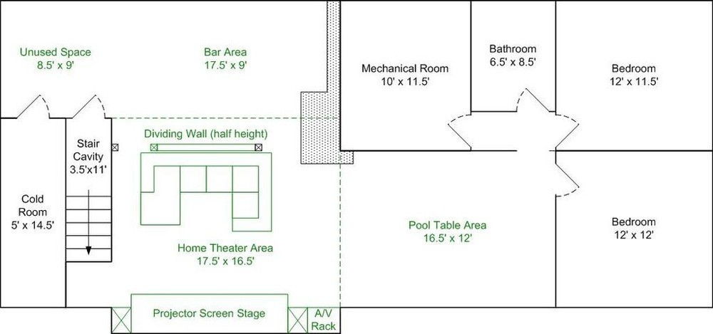 pj screen stage sub enclosure design basement layoutjpg - Home Theater Stage Design