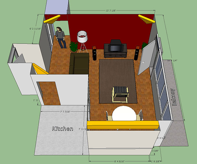 Bass traps for asymmetrical set up in l shaped apartment for L shaped bedroom layout