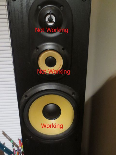 Mid Driver and Tweeter not working but Bass Driver working - how to tell if Caps are bad and what needs to be replaced-speakerproblem.jpg
