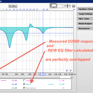 Verification between measured curve on D2500 and calculated REW EQ curve